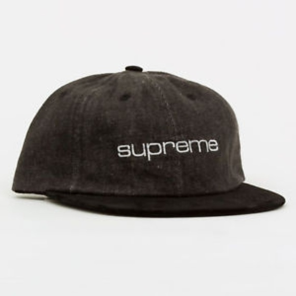 2664a50ab89 SUPREME Denim Suede Compact Logo 6 Panel Hat